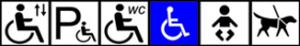 Opastesymbolit oikealta vasemmalle: invahissi, invapaikoitus, inva-wc, lastenhoitohuone, opaskoirat sallittu