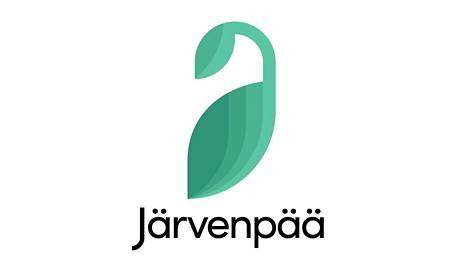 Järvenpään kaupungin logo, vihreä tyylitelty joutsen valkoisella pohjalla, alla teksti Järvenpää