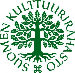 Suomen Kulttuurirahaston vihreä logo, jossa on oksansa levittävä tammi. Kuvaa kiertää teksti Suomen kulttuurirahasto.